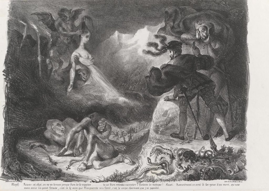 At the witches' sabbath. Eugène DELACROIX -plate 15 from Faust, 1828