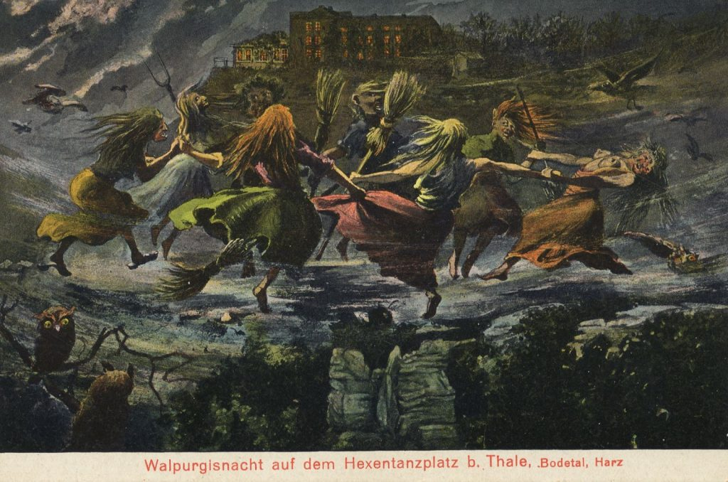 Postcard commemorating Walpurgisnacht on the Brocken mountain.