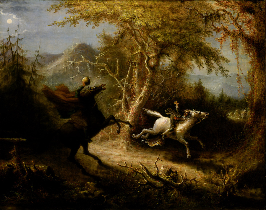 The Headless Horseman Pursuing Ichibod Crane, John Quidor, 1858.