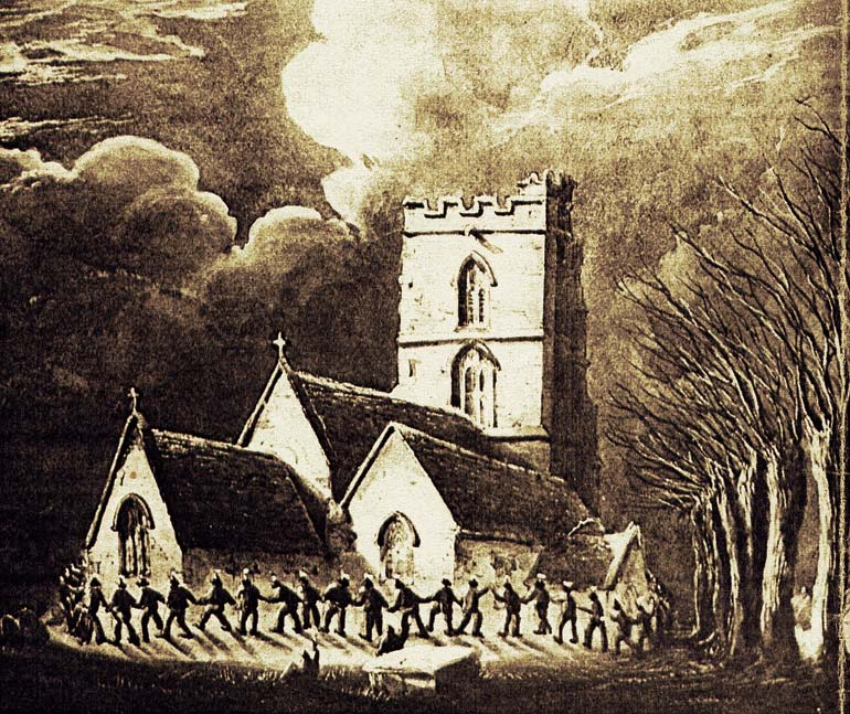 Clipping the church. Painting by W. W. Wheatley in 1848