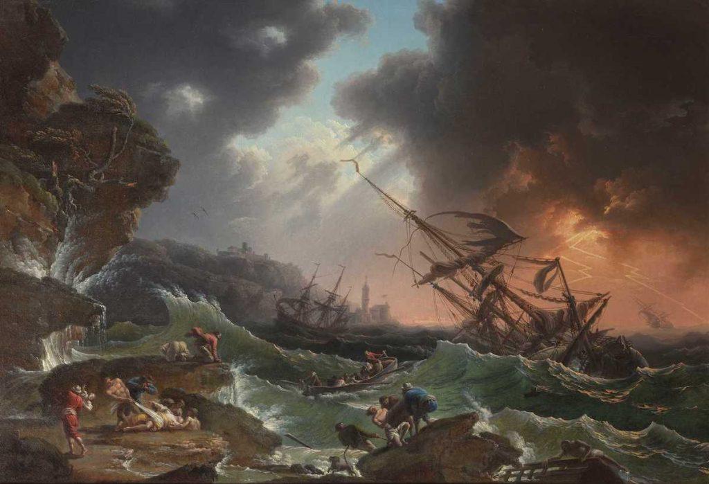 "Claude-Joseph Vernet, ""A Shipwreck in Stormy Seas"" 1770."