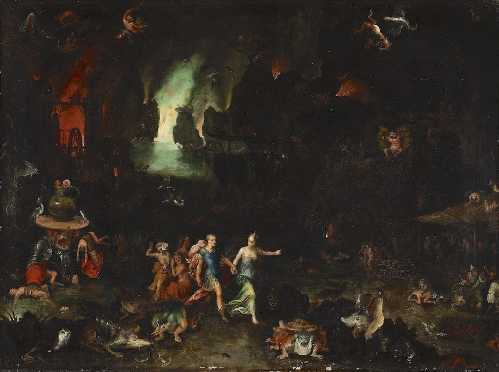 """Aeneas and the Cumaean Sibyl in the Underworld,"" Jan Brueghel the Elder, ca 1630"