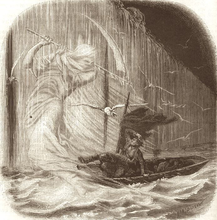 """Pym"" Illustration for Jules Verne's essay ""Edgard Poë et ses oeuvres"" by Frederic Dargent, 1862"