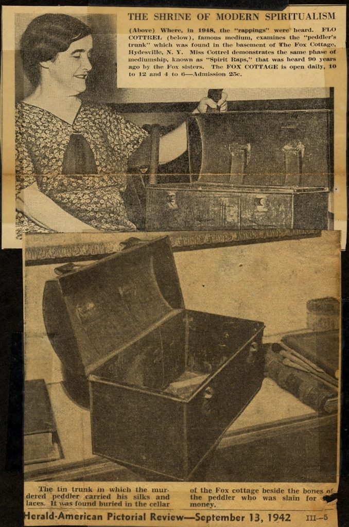"News clipping depicting the ""peddler's chest"" recovered from the Fox home"