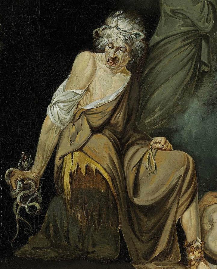 """Detail: """"Sextus Pompeius consulting Erichtho"""" John Hamilton Mortimer (1776)"""