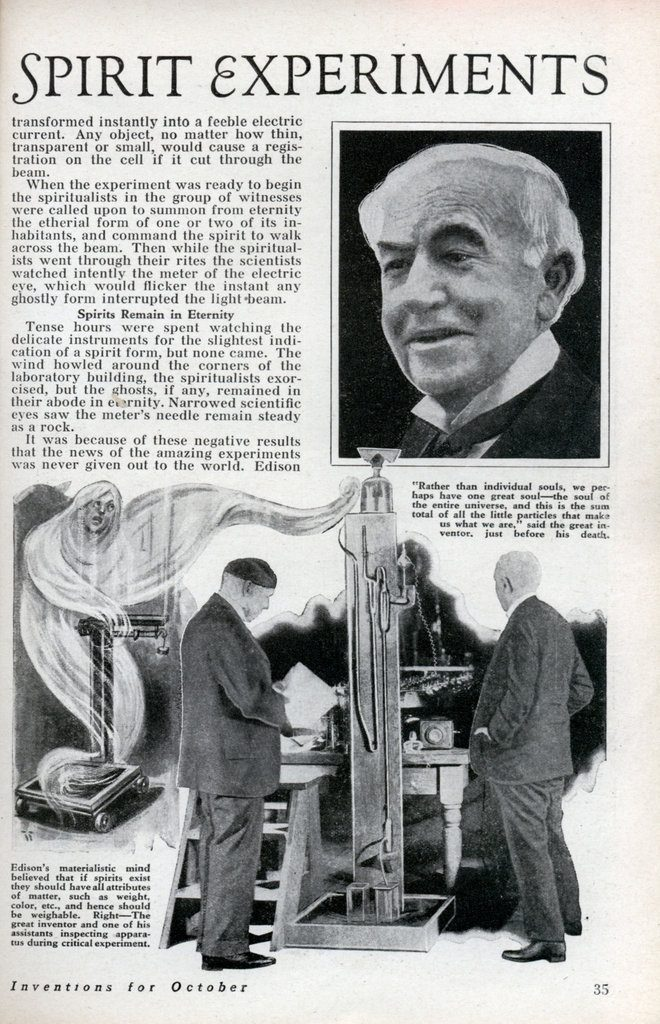 "Article from ""Modern Mechanix"" on Edison's ""spirit phone"""