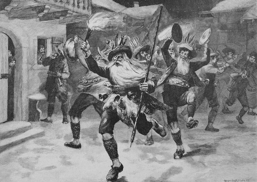 19th-century illustration showing use of noise during the Twelve Nights.