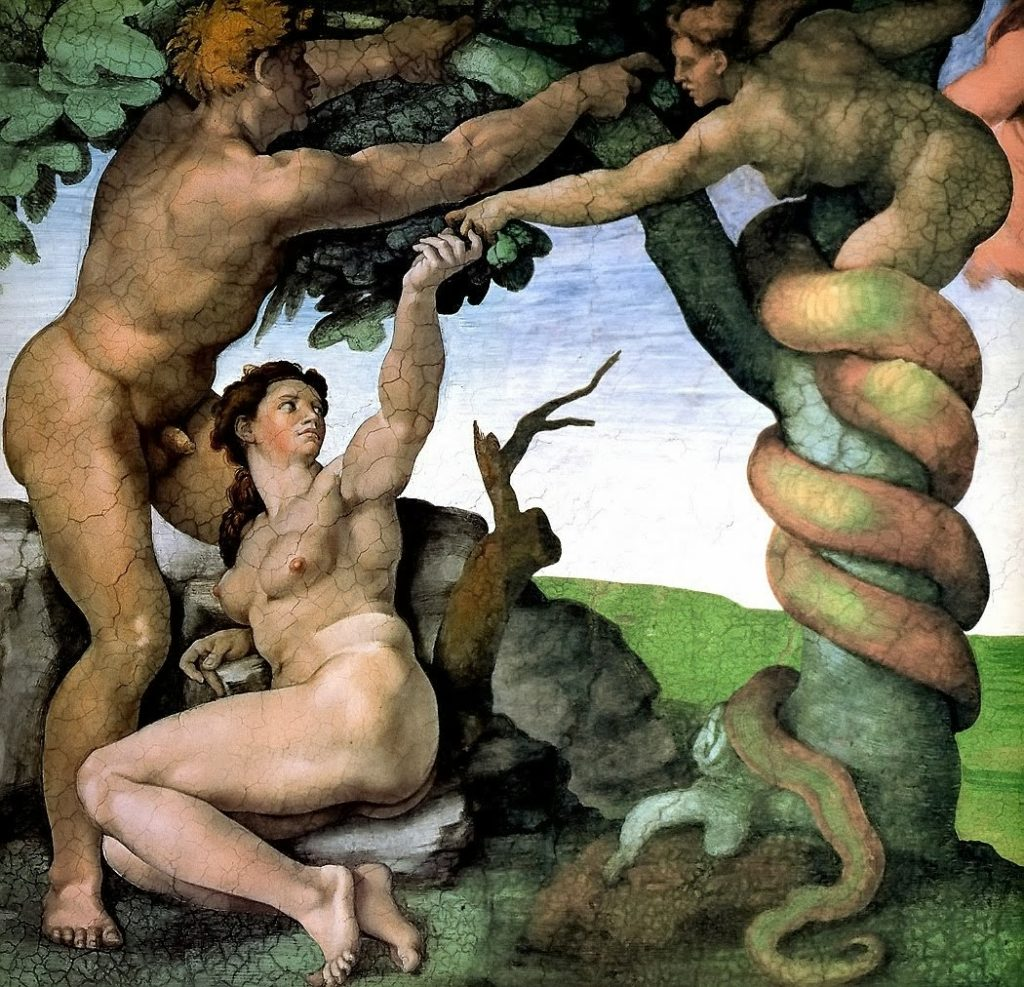 "Michelangelo's ""Temptation"" with Lilith as Serpent"