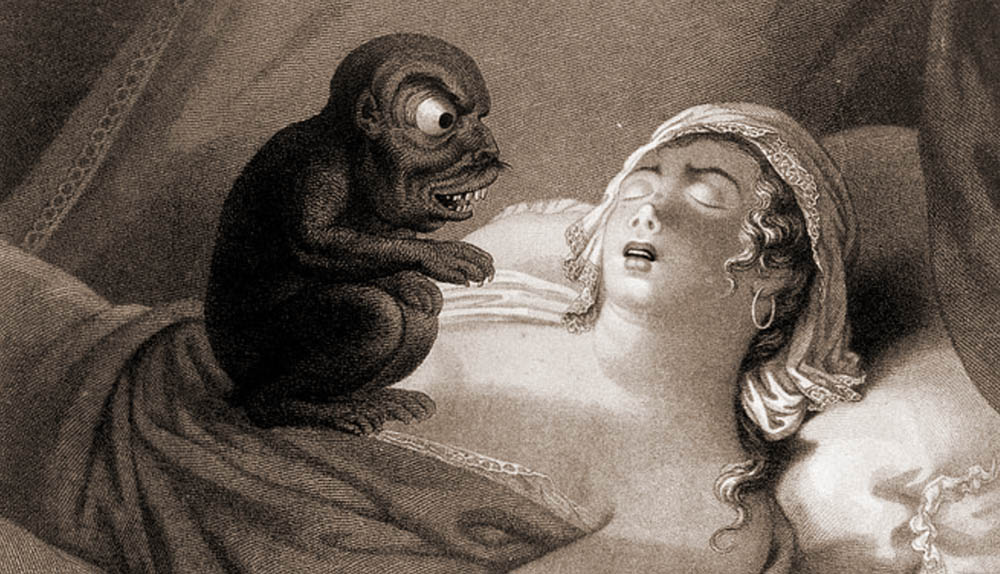 19th-century illustration of the nightmare, artist unknown