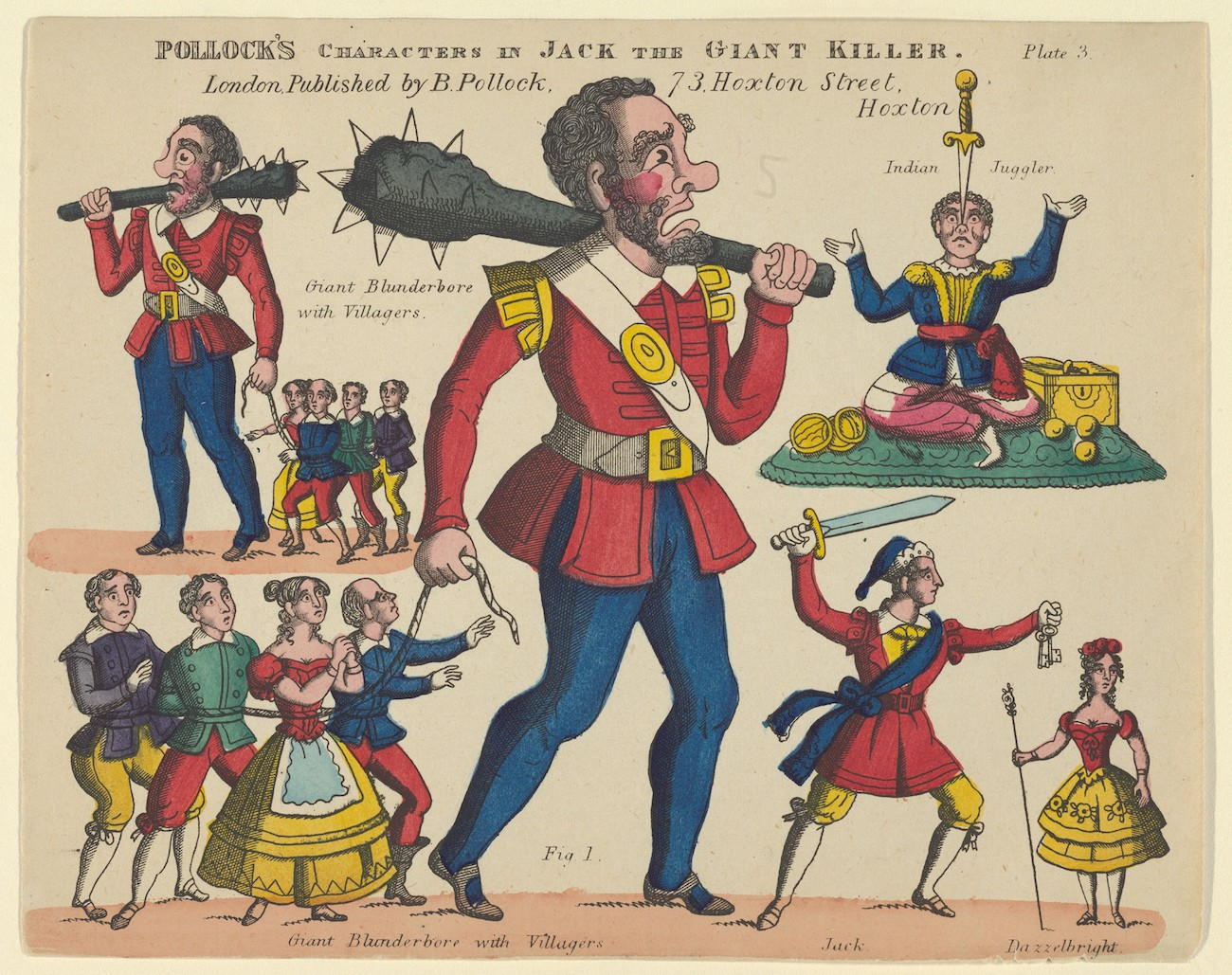 "19th-century ""toy theater"" figures for Jack the Giant Killer (probably as elaborated in a pantomime)"