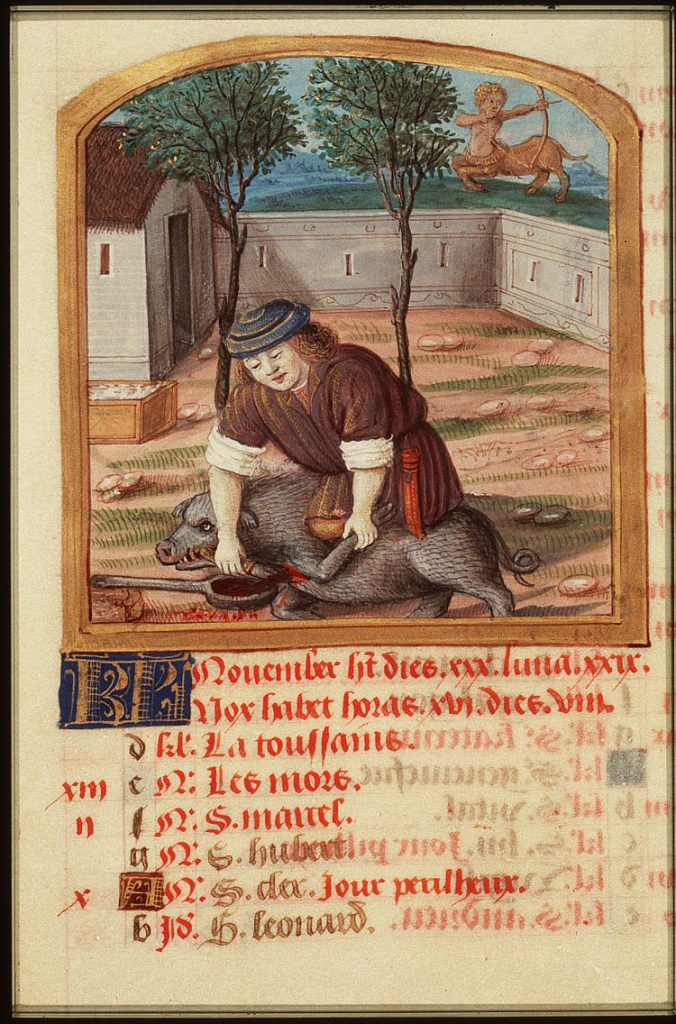 November Labor of the Month from Parisian Book of Hours, c. 1490-1500