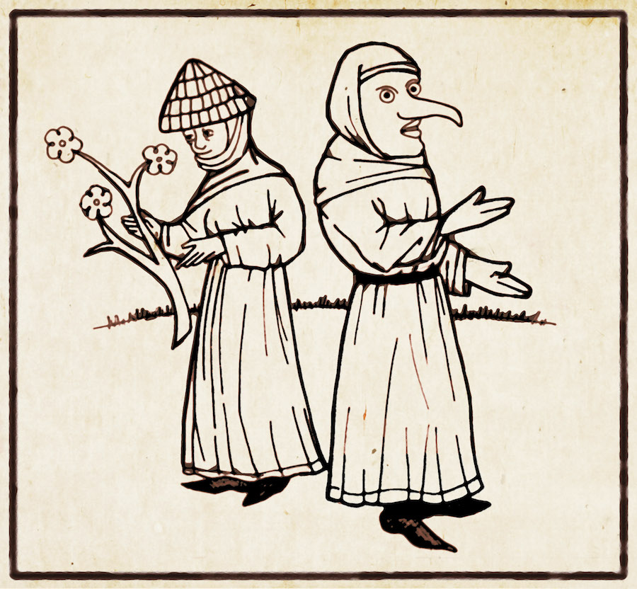Frau Perchta (right) from Hans Vintler's Die Pluemen der Tugent