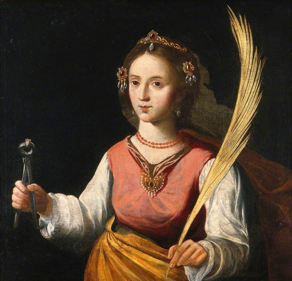 St Apollonia, 17th-cent, school of Francisco de Zur