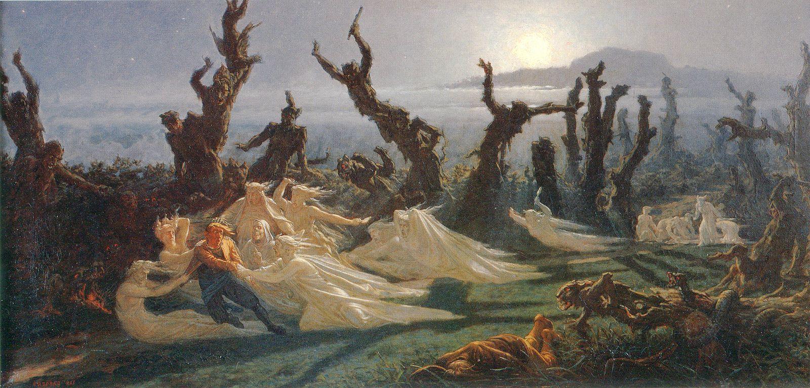 Les Lavandières de la nuit, 1861, Yan' Dargent, oil,